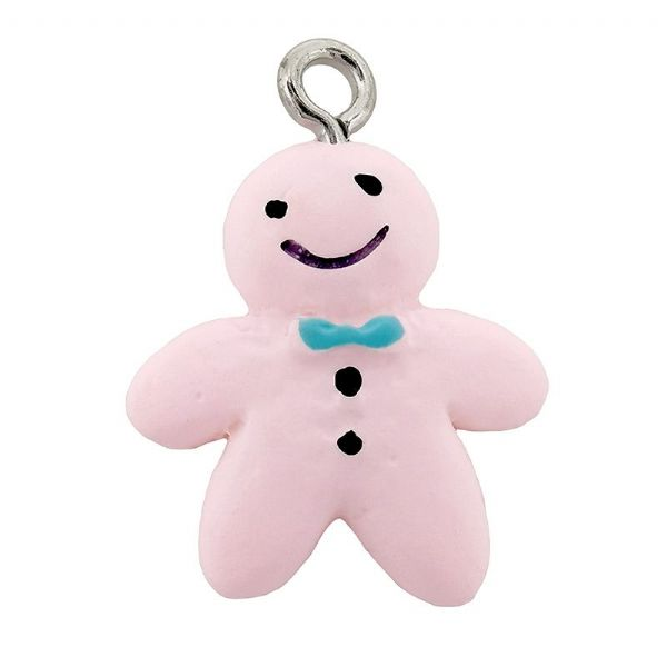 Acrylic Pink Gingerbread Man 16 x 17mm